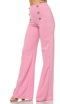 Pink Six Button Palazzo Pants