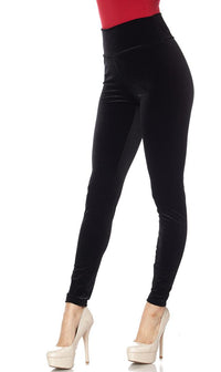 High Waisted Velvet Leggings in Black (Plus Sizes Available) - SohoGirl.com