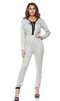 Gray Front Lace Up Jumpsuit - SohoGirl.com