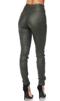 Olive Faux Leather Super High Waisted Pants (S-XL) - SohoGirl.com