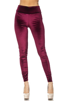 High Waisted Velvet Leggings in Burgundy