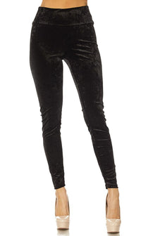 Black Crushed Velvet High Waisted Leggings (Plus Sizes Available)