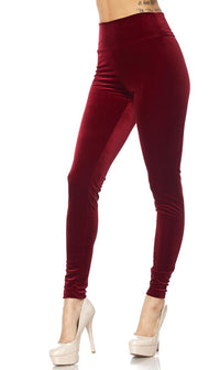 Wine High Waisted Velvet Leggings - SohoGirl.com