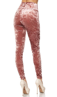 Pink Crushed Velvet High Waisted Leggings (Plus Sizes Available) - SohoGirl.com