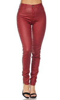 Burgundy Faux Leather Super High Waisted Pants (S-XL) - SohoGirl.com