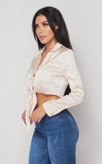 Satin Tie Front Crop Top in Blush - SohoGirl.com