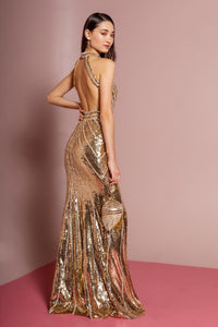 Elizabeth K GL2572 Halter Sleeveless Sequin Dress in Gold - SohoGirl.com