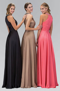 Elizabeth K GL1013T Beaded Collar Halter Neck Wrap Over Full Length Silk Gown in Black - pallawashop.com