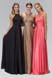 Elizabeth K GL1013T Beaded Collar Halter Neck Wrap Over Full Length Silk Gown in Coral