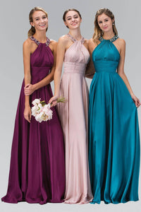 Elizabeth K GL1013T Beaded Collar Halter Neck Wrap Over Full Length Silk Gown in Eggplant - SohoGirl.com