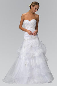 Elizabeth K GL1032 Trumpet Sweetheart Ruffle Wedding Dress in White