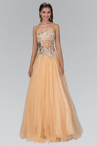 Elizabeth K GL1045 Strapless Long Dress with Corset Sheer Bodice Accented with Rhinestone and Sequin In Nude - SohoGirl.com