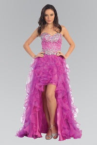 Elizabeth K GL1098 Organza High-Low Dress with Jeweled Sweetheart Bodice In Fuchsia - SohoGirl.com
