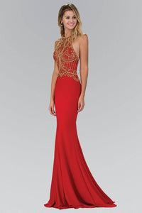 Elizabeth K GL1301P Open Back Contrast Bead Embellished Halter Neck Full Length Gown in Red - SohoGirl.com