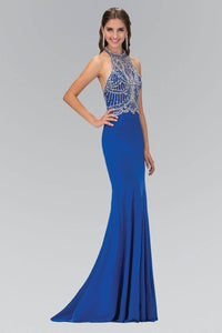 Elizabeth K GL1301P Open Back Contrast Bead Embellished Halter Neck Full Length Gown in Royal Blue - SohoGirl.com