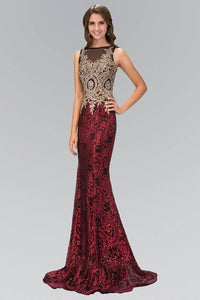 Elizabeth K GL1319D Dazzling Floral Lace Sheer Insert Full Length Gown in Red