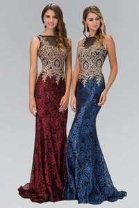 Elizabeth K GL1319D Dazzling Floral Lace Sheer Insert Full Length Gown in Royal Blue - SohoGirl.com