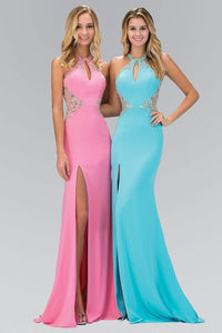 Elizabeth K GL1324X Side Slit Keyhole Neck Jewel Illusion Back Floor Length Gown in Pink - SohoGirl.com