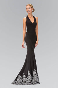 Elizabeth K GL1325X Classic V-Neck Strappy Back Full Length Embroidered Gown in Black
