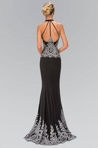 Elizabeth K GL1325X Classic V-Neck Strappy Back Full Length Embroidered Gown in Black - SohoGirl.com
