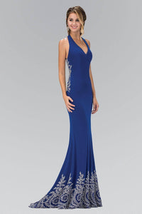 Elizabeth K GL1325X Classic V-Neck Strappy Back Full Length Embroidered Gown in Royal Blue - SohoGirl.com