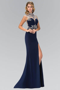 Elizabeth K GL1327X Mock Neck Sweetheart Bodice Floor Length Gown with Side Slit in Navy - SohoGirl.com