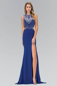 Elizabeth K GL1328X Beaded Illusion Back Cutout Side Slit Full Length Gown in Royal Blue