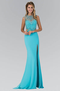 Elizabeth K GL1328X Beaded Illusion Back Cutout Side Slit Full Length Gown in Tiffany - SohoGirl.com