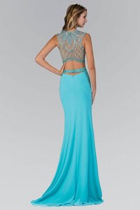 Elizabeth K GL1328X Beaded Illusion Back Cutout Side Slit Full Length Gown in Tiffany