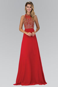 Elizabeth K GL 1329 Jewel and Bead Embellished Long Dress with Back Cut Out In Red - SohoGirl.com