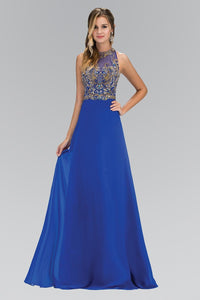 Elizabeth K GL 1329 Jewel and Bead Embellished Long Dress with Back Cut Out In Royal Blue - SohoGirl.com