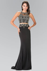 Elizabeth K GL1338 Waist Cut Out Floor Length Dress Accented with Jewel in Black