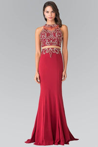 Elizabeth K GL1338 Waist Cut Out Floor Length Dress Accented with Jewel in Burgundy - SohoGirl.com