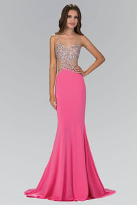Elizabeth K GL1349 Shimmering Illusion Bodice Open Back Mermaid Tail Floor Length Gown in Pink