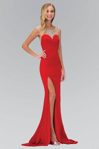 Elizabeth K GL1352P Bead Embellished Back Sweetheart Illusion with Side Slit Full Length Gown in Red