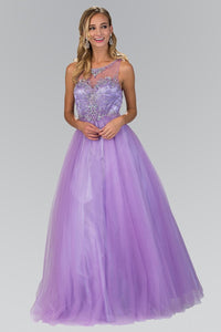 Elizabeth K GL1353 Quinceanera Tulle Long Dress with Sheer Neckline and Bead Embellished Bodice In Lilac