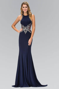 Elizabeth K GL1357P High Neck Illusion Back Jersey Full Length Gown in Navy