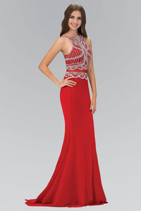 Elizabeth K GL1362P High Neck Jeweled Bodice Floor Length Prom Dress in Red