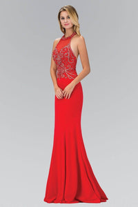 Elizabeth K GL1373P Dazzling Bead Bodice Halter Neck Open Back Full Length Gown in Red - SohoGirl.com