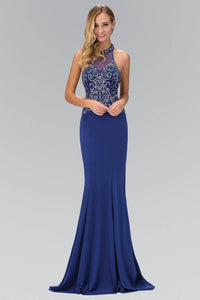 Elizabeth K GL1373P Dazzling Bead Bodice Halter Neck Open Back Full Length Gown in Royal Blue - pallawashop.com