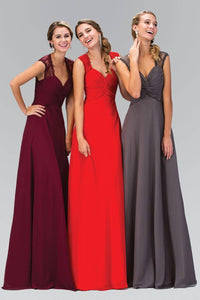 Elizabeth K GL1376P Lace Detail Twisted Sweetheart Bodice Floor Length Chiffon Gown in Burgundy - pallawashop.com