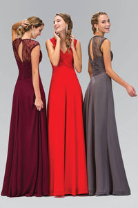 Elizabeth K GL1376P Lace Detail Twisted Sweetheart Bodice Floor Length Chiffon Gown in Burgundy
