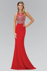 Elizabeth K GL1385X Racer Neck Open Back Bead Embellished Bodice Full Length Jersey Gown in Red