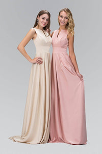 Elizabeth K GL1391T Pleated Slit Bateu Neck Full Length Gown in Champagne - SohoGirl.com