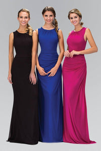 Elizabeth K GL1395Y High Neck Ruched Detail Floor Length Gown in Magenta
