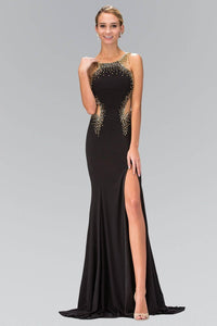 Elizabeth K GL1399H Bead Detail Side Cutout Sheer Insert Floor Length Gown with Side Slit in Black - SohoGirl.com