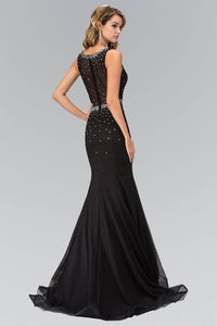 Elizabeth K GL1401H Scoop Neck Bead Embellished Illusion Back Full Length Mesh Gown in Black - SohoGirl.com