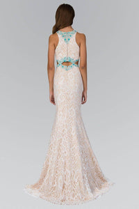 Elizabeth K GL1403H Floral Lace Turquoise Beading Full Length Gown in Ivory Nude