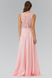 Elizabeth K GL1460 Floor Length Sleeveless Lace Dress in Blush