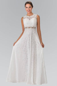 Elizabeth K GL1460 Floor Length Sleeveless Lace Dress in Ivory - SohoGirl.com